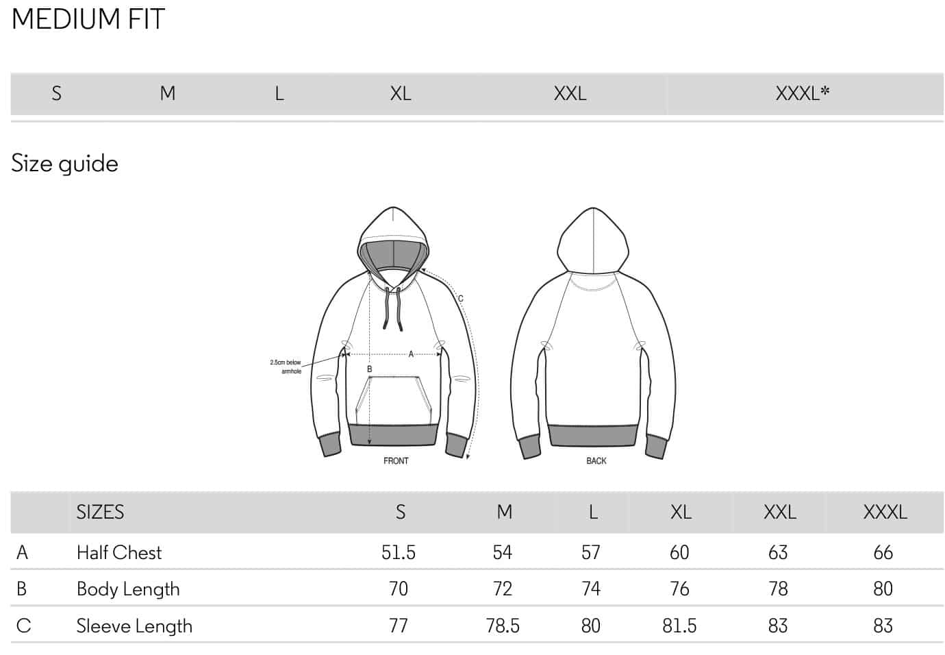 size guide mens hoodies