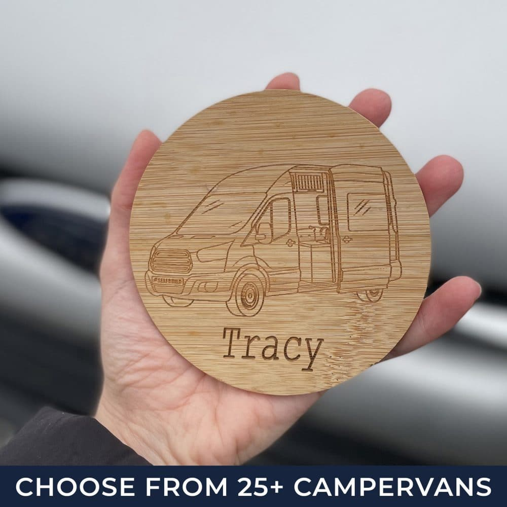 Our campervan coaster which is personalised to any name