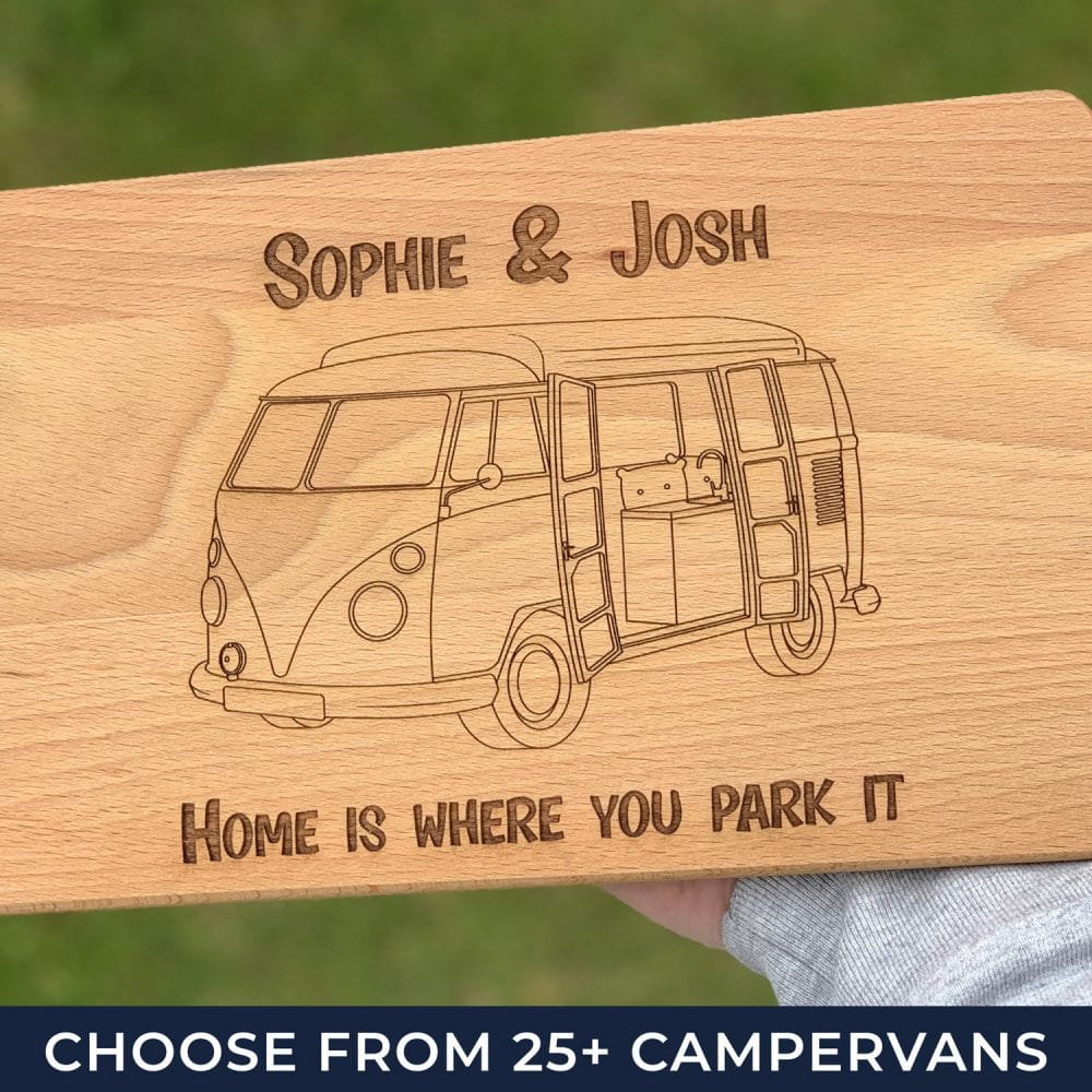 personalised campervan chopping board with a t1 transporter on it and 2 lines of messages