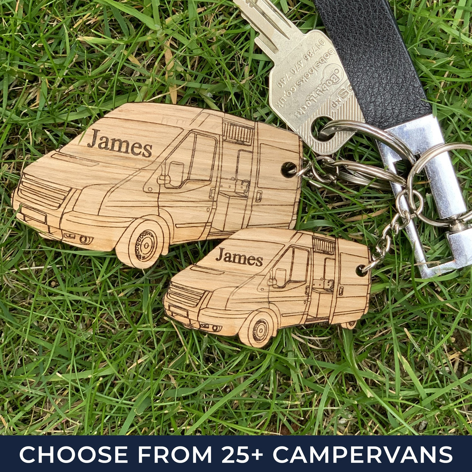 Our campervan keyring which is personalised to over 80 different campervan designs making the perfect campervan gift