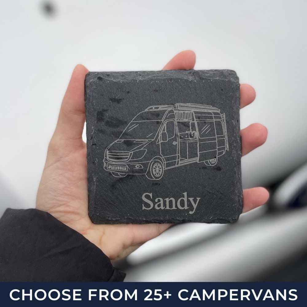 Our campervan coaster in slate which makes the perfect gift for a camperavn owner